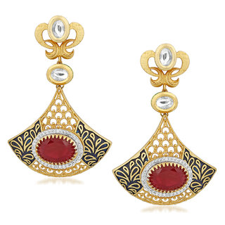 VK Jewels Given Diya Gold Plated Alloy Drop Earring set for Women & Girls -ERZ1438G [VKERZ1438G]