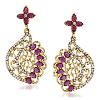 VK Jewels Maroon Petals Gold Plated Alloy Drop Earring set for Women & Girls -ERZ1287G [VKERZ1287G]