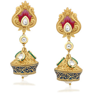 VK Jewels Pearl Drop Kundan Gold Plated Alloy Jhumki Earring set for Women & Girls -ERZ1289G [VKERZ1289G]