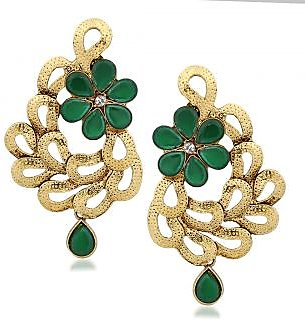 VK Jewels  Gold Enticing Leafy Plated Alloy Drop Earring set for Women & Girls -ERZ1307G [VKERZ1307G]