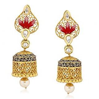 VK Jewels Royal Kundan Gold Plated Alloy Jhumki Earring set for Women & Girls -ERZ1294G [VKERZ1294G]