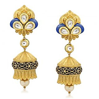 VK Jewels Fabulous Kundan Gold Plated Alloy Jhumki Earring set for Women & Girls -ERZ1295G [VKERZ1295G]