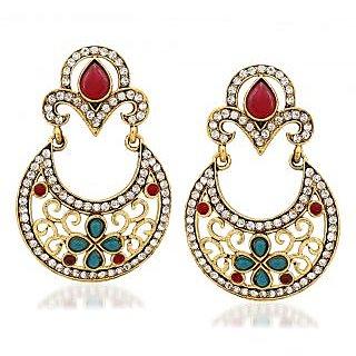 VK Jewels Delicate Gold Plated Alloy Chandbali Earring set for Women & Girls -ERZ1296G [VKERZ1296G]