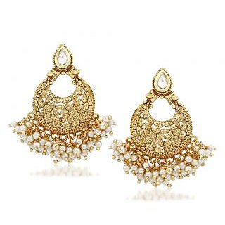 VK Jewels Pearl Drops Gold Plated Alloy Chandbali Earring set for Women & Girls -ERZ1297G [VKERZ1297G]