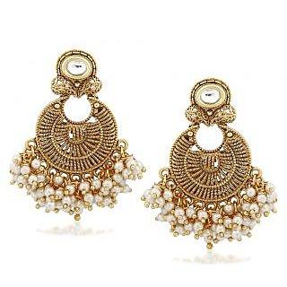 VK Jewels Traditional Gold Plated Alloy Chandbali Earring set for Women & Girls -ERZ1301G [VKERZ1301G]