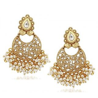 VK Jewels Bewitching Pearl Drops Gold Plated Alloy Chandbali Earring set for Women & Girls -ERZ1302G [VKERZ1302G]