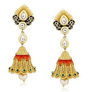 VK Jewels Gorgeous Kundan Gold Plated Alloy Jhumki Earring set for Women & Girls -ERZ1314G [VKERZ1314G]