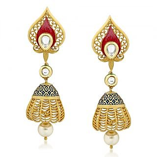 VK Jewels Admirable Kundan Gold Plated Alloy Jhumki Earring set for Women & Girls -ERZ1316G [VKERZ1316G]