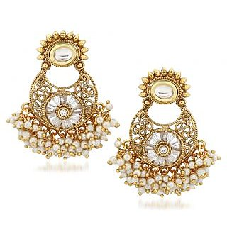 VK Jewels Pearl Drops Gold Plated Alloy Chandbali Earring set for Women & Girls -ERZ1317G [VKERZ1317G]