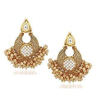 VK Jewels Pearl Drops Gold Plated Alloy Chandbali Earring set for Women & Girls -ERZ1318G [VKERZ1318G]