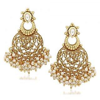 VK Jewels Pearl Drops Gold Plated Alloy Chandbali Earring set for Women  Girls -ERZ1319G VKERZ1319G