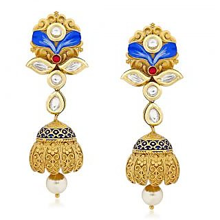 VK Jewels Vintage Traditional Gold Plated Alloy Jhumki Earring set for Women & Girls -ERZ1320G [VKERZ1320G]