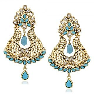 VK Jewels Elegant Sky Blue Drop Gold Plated Alloy Drop Earring set for Women & Girls -ERZ1323G [VKERZ1323G]