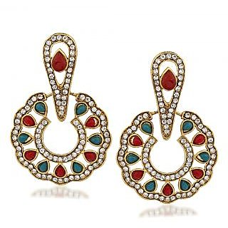 VK Jewels Alluring Gold Plated Alloy Chandbali Earring set for Women & Girls -ERZ1324G [VKERZ1324G]
