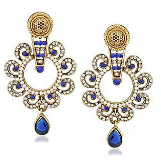 VK Jewels Cute Blue & White Gold Plated Alloy Drop Earring set for Women & Girls -ERZ1325G [VKERZ1325G]