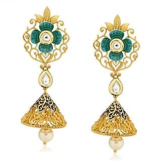 VK Jewels Classy Pearl Drop Gold Plated Alloy Jhumki Earring set for Women & Girls -ERZ1326G [VKERZ1326G]