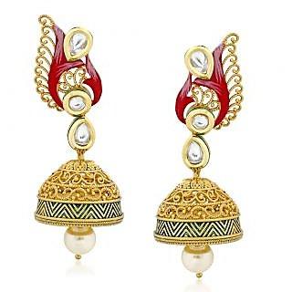 VK Jewels Eye Cathy Kundan Gold Plated Alloy Jhumki Earring set for Women & Girls -ERZ1327G [VKERZ1327G]