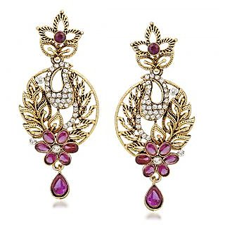 VK Jewels Flower and Leaf Gold Plated Alloy Drop Earring set for Women & Girls -ERZ1334G [VKERZ1334G]