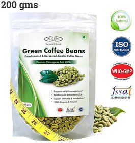 Sinew Nutrition Green Coffee Beans Decaffeinated  Unroasted Arabica Coffee -200gm for weight management