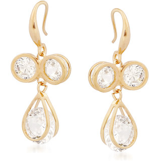 VK Jewels Three Stones Gold Plated Alloy Drop Earring set for Women & Girls -ERZ1339G [VKERZ1339G]