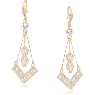 VK Jewels Square Charm Gold Plated Alloy Drop Earring set for Women & Girls -ERZ1340G [VKERZ1340G]