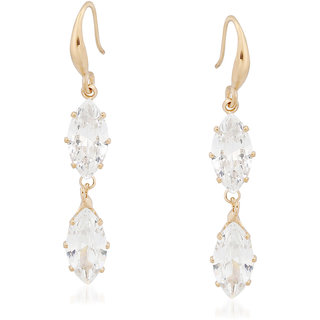 VK Jewels Dual Drop Gold Plated Alloy Drop Earring set for Women & Girls -ERZ1341G [VKERZ1341G]