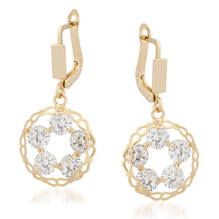 VK Jewels Open Circle Gold Plated Alloy Drop Earring set for Women & Girls -ERZ1346G [VKERZ1346G]