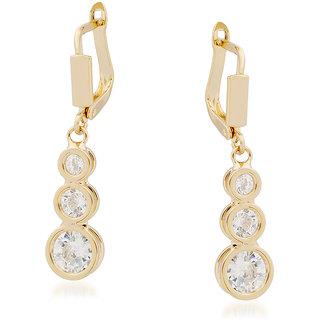 VK Jewels Three Stones Gold Plated Alloy Drop Earring set for Women & Girls -ERZ1348G [VKERZ1348G]