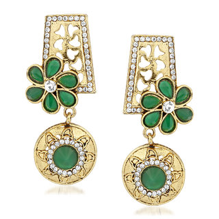 VK Jewels Circular Flower Gold Plated Alloy Drop Earring set for Women & Girls -ERZ1385G [VKERZ1385G]
