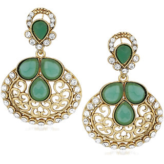 VK Jewels Traditional Embroidered Flower Gold Plated Alloy Drop Earring set for Women & Girls -ERZ1388G [VKERZ1388G]