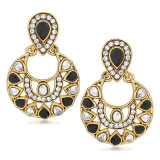 VK Jewels Black & White Gold Plated Alloy Drop Earring set for Women & Girls -ERZ1391G [VKERZ1391G]
