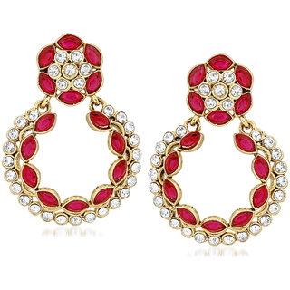 VK Jewels Circular Almond Flower Gold Plated Alloy Drop Earring set for Women & Girls -ERZ1392G [VKERZ1392G]