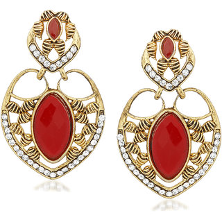 VK Jewels Red Stone Plated Alloy Drop Earring set for Women & Girls -ERZ1394G [VKERZ1394G]
