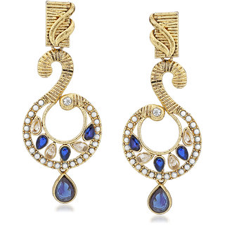 VK Jewels Peacock Peak Gold Plated Alloy Drop Earring set for Women & Girls -ERZ1397G [VKERZ1397G]