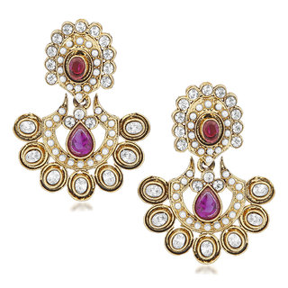 VK Jewels Traditional Cultured Gold Plated Alloy Drop Earring set for Women & Girls -ERZ1401G [VKERZ1401G]