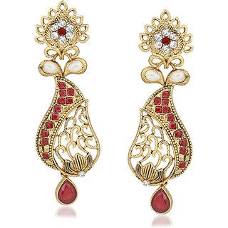 VK Jewels Red Drop Gold Plated Alloy Drop Earring set for Women & Girls -ERZ1402G [VKERZ1402G]