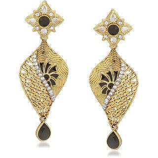 VK Jewels Black Charm Gold Plated Alloy Drop Earring set for Women & Girls -ERZ1415G [VKERZ1415G]