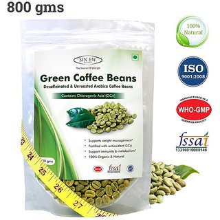 Sinew Nutrition Green Coffee Beans Decaffeinated  Unroasted Arabica Coffee -800gm for weight management
