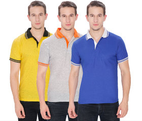 Pack Of 3 Cotton Blended Polo T-shirts by Baremoda (Yellow Grey Blue)