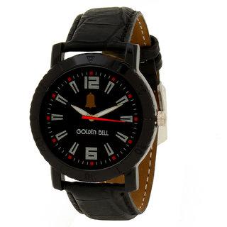 Golden Bell Men\'S Black Round Genuine Leather Strap Wrist Watch (163Gb)