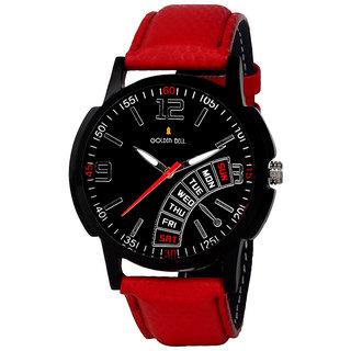 Golden Bell Men'S Red Black Round Genuine Leather Strap Wrist Watch (475Gb)