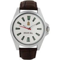 Golden Bell Men\'S Brown & White Round Genuine Leather Strap Wrist Watch (Gb0047)