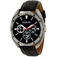 Golden Bell Men\'S Black Round Genuine Leather Strap Wrist Watch (428Gb)