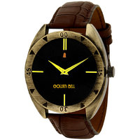 Golden Bell Men'S Brown  Black Round Genuine Leather Strap Wrist Watch (467Gb)