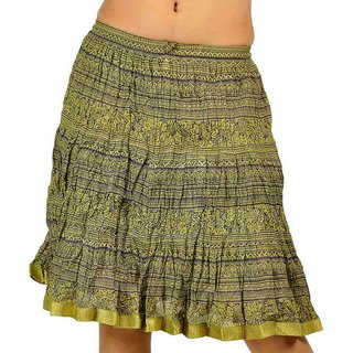 Rajasthani Green color Cool Strips Short Skirt 240-26