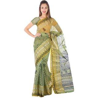 Kaarigar Green Kota Self Design Saree With Blouse