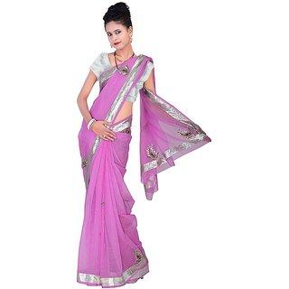 Kaarigar Pink Net Self Design Saree With Blouse