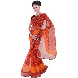 Kaarigar Red Net Self Design Saree With Blouse
