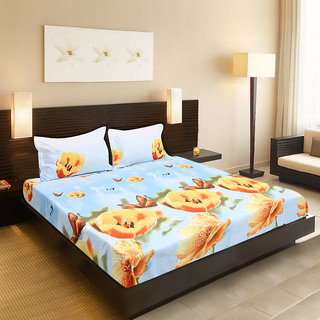 Valtellina India beautiful Floral design 1 Double bedsheet  2 pillow covers