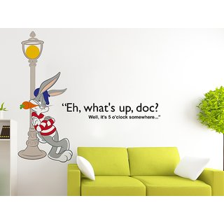 Wallstick ' Bunny ' Wall Sticker (Vinyl, 100 cm x 120 cm, Multicolor)